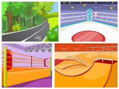 Cartoon set of backgrounds - sport infrastructure Stock Illustration