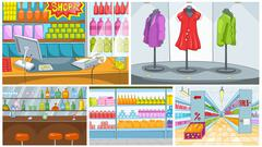 Cartoon set of grocery store and pub backgrounds Piirros
