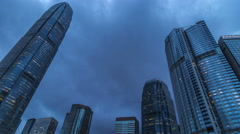 International Finance Center tower in Hong Kong. 4K TimeLapse - August 2016 Stock Footage