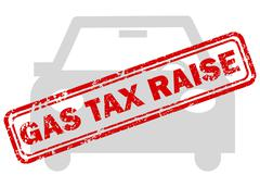 Red gas tax raise rubber stamp on grey car icon Stock Illustration
