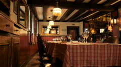 Typical French Alsacian restaurant waitng for customers Stock Footage