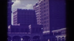 1938: american flag atop a bus and train station ATLANTIC CITY NEW JERSEY Stock Footage