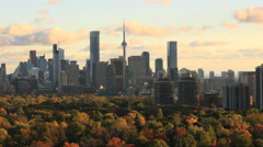 Timelase Toronto Skyline under Autumn Sunset Clouds Timelapse Stock Footage