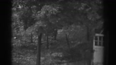 1938: leafy fruit trees along the hill by the garage. VINELAND NEW JERSEY Stock Footage