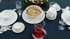Beautifully served table with breakfast. Buffet served on the terrace Stock Footage