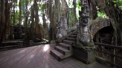 Famous dragon bridge in Monkey Forest. Ancient temple and stone statues. Stock Footage