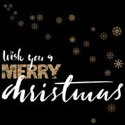Merry Christmas gold and white lettering design on black background with golden Stock Illustration