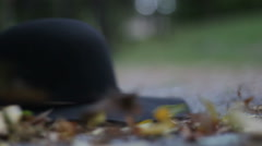 Black hat falls to the ground,slow motion Stock Footage
