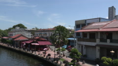 Cutaways Malaysia Houses Along River Stock Footage