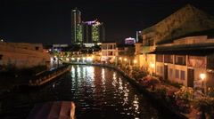 Cutaways Malaysia Nightshot Of Houses Along River Stock Footage