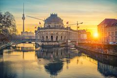 Museum Island on Spree river at sunrise, Berlin Stock Photos