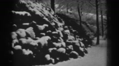 1938: a rural, tree-covered hillside is blanketed in unblemished snow WINCHESTER Stock Footage