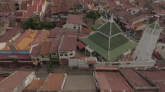 Aerial Drone Malaysia Houses Along Street Stock Footage