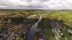 Long aerial reveal of Bewdley town centre. Stock Footage