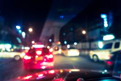 Blurred traffic jam on rush hour time, shooted from inside of car Stock Photos