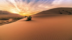 Sunrise in the Singing Sand Dunes in Altyn Emel. 4K TimeLapse - September 2016 Stock Footage