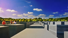 Girls visiting the Memorial to the Murdered Jews of Europe, also known as the Stock Footage