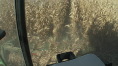 POV of corn combine from within the cab as the end of rows is reached, 4K. Stock Footage
