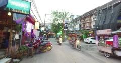 4k - walking into thai go bar area in loi kroh Stock Footage