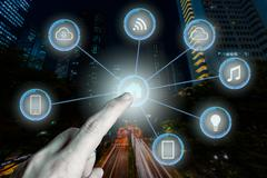 Internet of things futuristic background showing domotic connect Stock Illustration