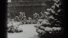 1938: snow covered trees in a backyard MARTINSBURG WEST VIRGINIA Stock Footage