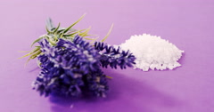 Close-up of sea salt and flowers Stock Footage