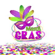 Vector illustration of Mardi Gras or Shrove Tuesday lettering label on white Piirros