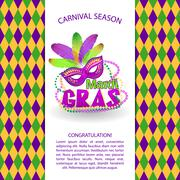 Bright vector carnival icons and sign. Mardi Gras carnival background - Piirros
