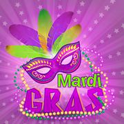 Venetian carnival mardi gras colorful party mask on purple background vector Stock Illustration