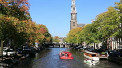 Amsterdam canal in autumn Stock Footage