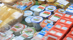 Grocery store. Cheese and sausage department store. The choice of goods. Stock Footage