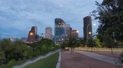 Day to night timelapse of Houston Downtown Area near Buffalo Bayou Park Arkistovideo