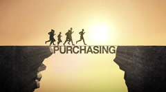 Pencil write 'Purchasing', connecting the cliff. Businessman crossing the cliff. Stock Footage