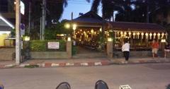 4l - walking past thai restaurant beautiful lanterns Stock Footage