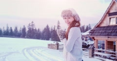 Happy Woman Enjoying Winter Snow Day, Snow fight. 4K SLOW MOTION 120fps. Stock Footage