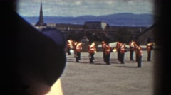 1938: military men marching in a demonstration. QUEBEC Stock Footage