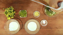 Yogurt green soup garlic and cucumber dill Stock Footage
