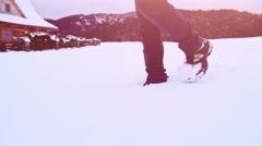 Legs in Winter Boots Walking through Thick Snow. STABILIZED SLOW MOTION 120fps. Stock Footage
