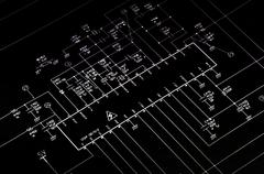 Electrical shematic diagram. Transistor, resistors, capatitors, diodes and ot Stock Photos