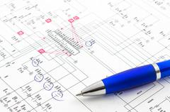 Electricity diagram (drawing or design) with pen on blueprint Stock Photos