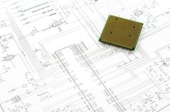 Integrated micro electronics component on microcircuit diagram drawing Stock Photos