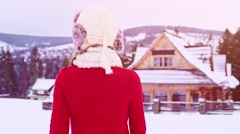Happy Woman Enjoying Winter, Follow to Log Cottage. STABILIZED SLOW-MO 120fps. Stock Footage