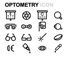 Vector black line optometry icons set Stock Illustration