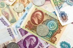 The photo of old Russian ruble banknotes. Image can be used as background. Stock Photos