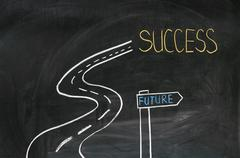 With chalk on the blackboard painted road to success Stock Photos