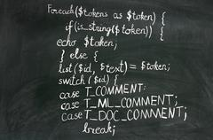A detail of computer code in PHP explained with white chalk Kuvituskuvat