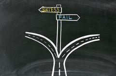 Pathway to success or failure. Drawing on the blackboard Stock Photos