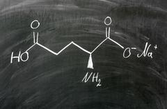 Molecule structure of Monosodium glutamate written on blackboard Stock Photos