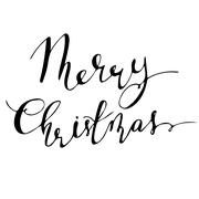 Merry Christmas hand lettering signature. Stock Illustration