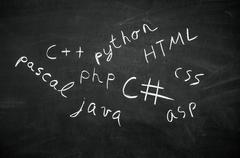 Several programming languages ??names written in on the blackboard Stock Photos